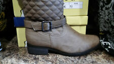 TOP MODA Women's Alice-1 Knee High Quilted Riding Boots in Khaki Size 5 NEW!