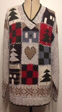 Woolrich Holiday Christmas V Neck Sweater NWOT Size Medium ( Ugly Tacky Party ?)