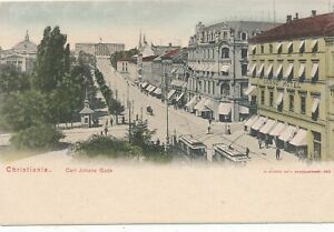 CHRISTIANIA - Carl Johans Gade showing Grand Hotel - Oslo -Norway-udb (pre 1908)