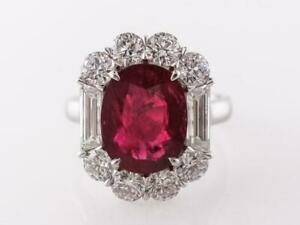 Awesome 4.10 CT Red Ruby & White CZ 925 Silver Women's Anniversary Fabulous Ring