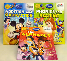 Disney 3 Workbooks, ALPHABET, ADDITION & SUBTRACTION, PHONICS & READING, 3+