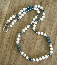 Natural Ocean Blue Apatite and Freshwater Pearl Necklace  Solid Sterling Silver