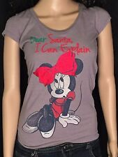 Minnie Mouse Dear Santa I Can Explain Disney Ladies Juniors Fit Small S T-shirt
