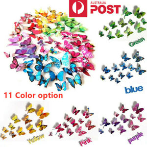 12PCS 3D Butterfly Wall Removable Sticker Decals Kids Art Nursery Decor Magnets