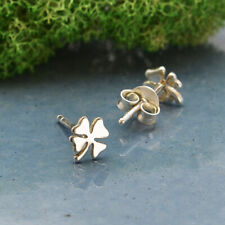 Sterling Silver Tiny 4 Leaf Clover Shamrock Stud Post Earrings - Good Luck Gift