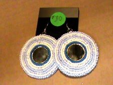 Native American Beaded Earrings Rosette Powwow Regalia Hand Beaded #19