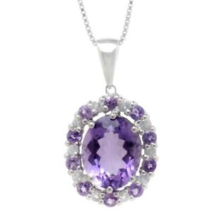 Natural Amethyst Purple Oval cut & Topaz Halo Pendant Sterling Silver with Chain
