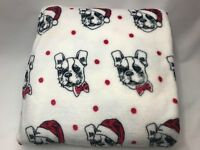 New French Bulldog Christmas Holiday Super Soft Plush Throw Blanket