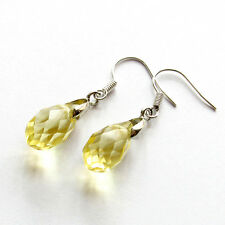 Pair Of Yellow Faceted Man-Made Quartz Crystal Earrings