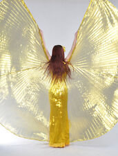 New Professional Belly Dance Transparent Fabric isis Wings Gold color (no stick)