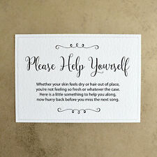 Please Help Yourself Wedding Toiletry Sign - 260gsm Hammer Card