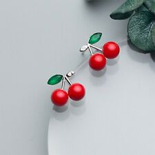 925 Sterling Silver red cherry fruit earrings necklace faux pearl summer fruit