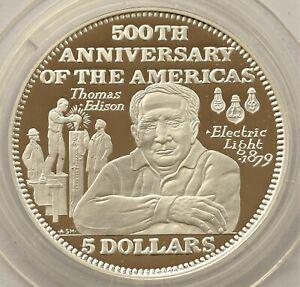 BAHAMAS 5 DOLLARS 1992 THOMAS EDISON 500 YEARS OF AMERICA SILVER PROOF