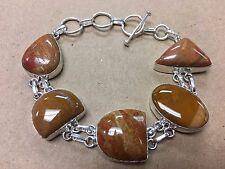 NEW 925 Sterling Silver w. Nature Jasper Gemstone Bracelet 8  - 9 1/2