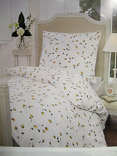 Linge de lit blanc jaune fleur Janine coton 140x200+60x80 Mako satin