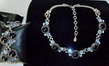 AMAZING Vintage Bracelet & Necklace SET Black Jet Cabochons & Blue Crystal Stone