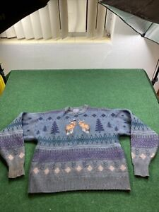 Vintage PENDLETON Embroidered Deer Duck Winter Sweater Wool Sz Fits Med See Pics