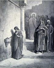 WIDOW'S MITE 1885 Gustave Doré - Dumont - Jesus ANTIQUE ENGRAVING