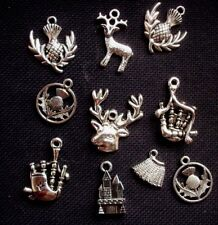 12 Scottish Highlands Outlander Charms Silver Tone Metal