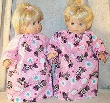 "Doll Clothes Baby Made 2 Fit American 15"" in Nightgown Pajamas 2pc Twin Mouse"