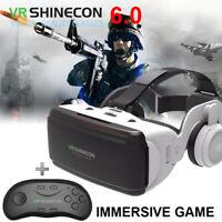 3D VR CASE HeadMount VR BOX Glasses + Remote GamePad For Goggles Mobile ios