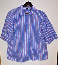 Ralph Lauren Women's Blue and Red Striped Shirt - 2XL