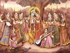 Fine Indian Miniature Painting Radha Krishna Handmade Real Golden Hindu Artwork