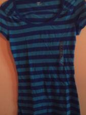 NWT Gap ladies juniors short sleeve navy and blue striped shirt; XS