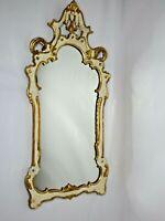 Vintage  Gold Gilt Rococo Italian Florentine Mirror White Gold Hollywood Regency