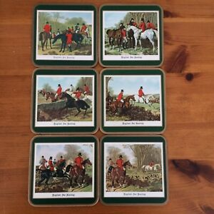 Vintage Pimpernel Hunting Scenes Coasters x 6 Boxed 23 Hunting Green English