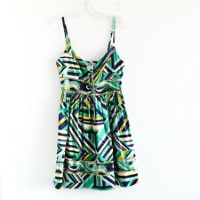 Marciano 100% silk green white mini short light summer Dress Size XS spaghetti
