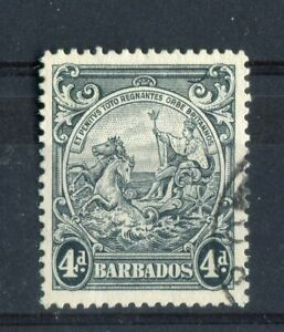 Barbados KGVI 1938 4d black SG253b CW11c R7/8 'curved line/joined scroll' used