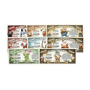 Disney Snow White and the 7 Dwarves set of 8 different new fantasy paper money