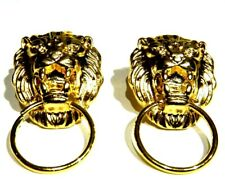 GOLD LION DOOR KNOCKER EARRINGS classic cat head face ring stud steampunk 1V