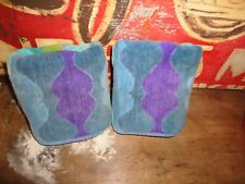 VINTAGE PENNEY FASHION MANOR GROOVY BLUE TEAL GREEN PURPLE (2PC) SET HAND TOWELS