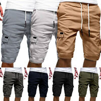 Men Elastic Waist Cargo Combat Soft Shorts Drawstring Summer Half Pants Trousers