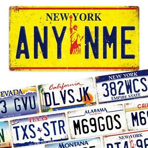 Metal Wall Sign - Various American Number Plates (Personalised)