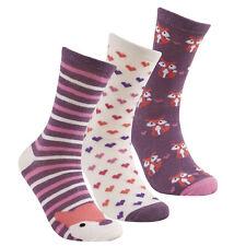 Cottonique Ladies Cotton Rich Animal Design Socks 4-8 3 Pack Purple Fox