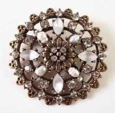 £40 Baroque Gold White Pearl Flower Round Brooch Swarovski Elements Crystal