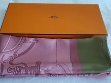 NEW HERMES 140CM RARE  XL LES VOITURES   PINK 100% SILK SCARF SHAWL TABLE COVER