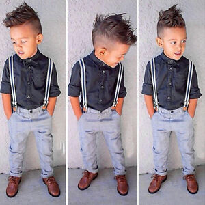 2Pcs Baby Kids Boys Formal Suit Shirt Suspender Long Pants Outfits Clothes Set