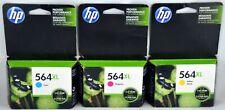 3 Genuine HP 564XL C/M/Y Color Ink Cartridges Exp. 2015 2014