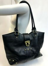 "Vintage 17"" Etienne Aigner Black Leather Shoulder Tote Purse Shoulder Handbag"