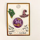 Halloween Enamel Pin Set Of 3 Badge Good Witch Bad Witch NWT