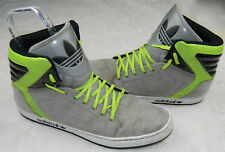 ADIDAS Sz 13 SNEAKERS Shoes HI-TOP Basketball LEATHER Gray Neon Green TREFOIL  =
