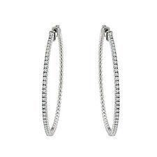 1.5 Carat White Round Diamond Fancy Hoop Huggies In & Out 14K Whte Gold Earring