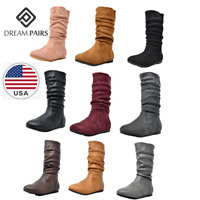 DREAM PAIRS Girl's Kid's Cute Zipper Flat Heel Mid Calf Boot Shoes Size 8 - 6