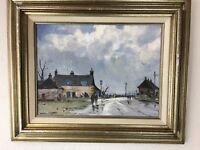 "Vintage Art Framed Signed AG FLEMING Painting WAYSIDE INN NORFOLK 19"" x  23"""