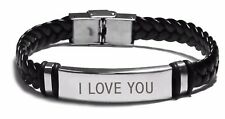 I LOVE YOU - Leather Braided Engraved Bracelets - Boyfriend Gifts For Him Xmas