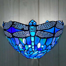 Antique Tiffany Wall lamp Dragonfly Style Blue Colorful Glass of Vintage Pattern